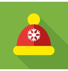 Knitted red cap icon flat style vector