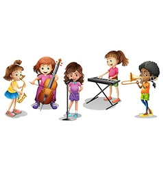 Many kids playing different musical instruments vector image