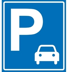blue parking sign on blue vector image