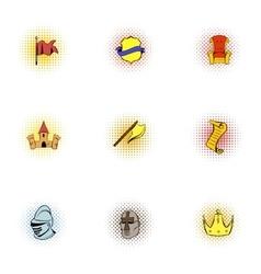 Knight icons set pop-art style vector