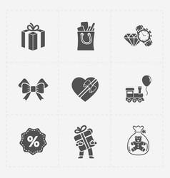 gift flat black shop icon set on white vector image