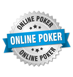 Online poker round isolated silver badge vector