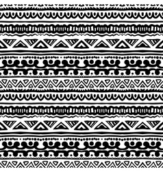Striped ethnic pattern in black and white vector image
