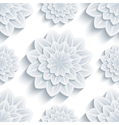 Seamless pattern grey with 3d flower chrysanthemum vector