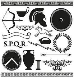 Old greek roman spartan set icons vector