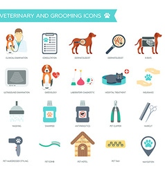 Set of veterinary and grooming icons with names vector