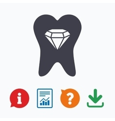 Tooth crystal sign icon dental prestige symbol vector