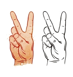 Victory and Peace Gesture Symbol vector image