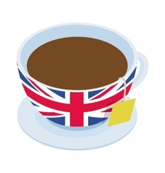 British tea cup icon isometric 3d style vector