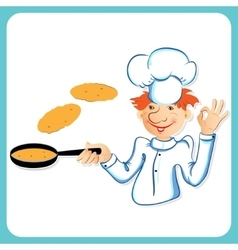 Chef with pancakes vector