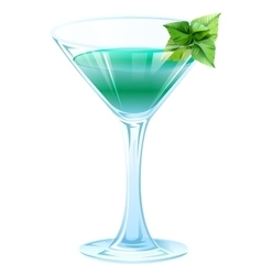 Alcohol cocktail with green mint leaves vector