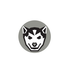 Baby wolf cub head circle retro vector