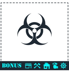 Biohazard icon flat vector