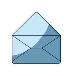Blue shading silhouette of envelope mail opened in vector