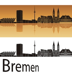 Bremen skyline in orange background vector image vector image