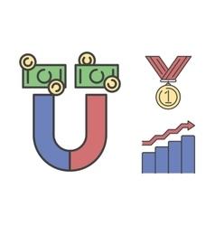 Business success money magnet icon vector