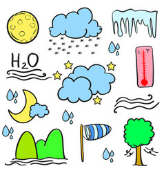 Collection of weather element doodles vector