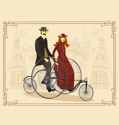 England couple of cyclists on bicycle vector