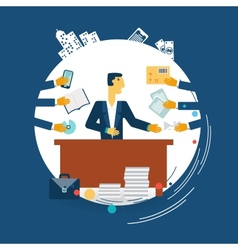 Exhausted businessman work vector