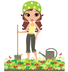 Girl the gardener vector