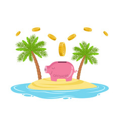 Gold coins falling in a piggy bank on a tropical vector