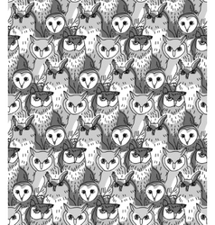 Group owl gray scale seamless pattern vector image