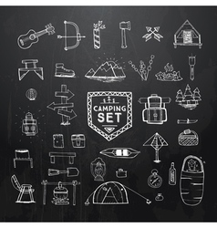 hand drawn camping set on black vector image vector image
