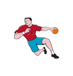 Handball player throwing ball cartoon vector