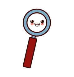 magnifying glass symbol kawaii cartoon vector image
