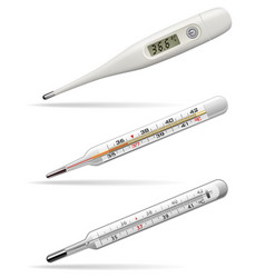 medical thermometers digital alcohol and mercury vector image