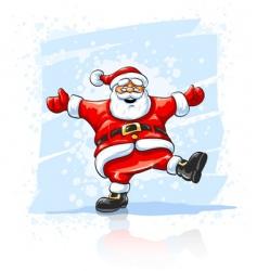 merry christmas santa claus dancing vector image vector image