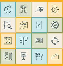 Project icons set with report presentation vector