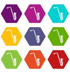 saxophone icon set color hexahedron vector image