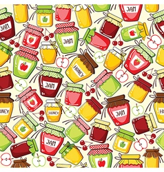 Seamless pattern with canned jar vector
