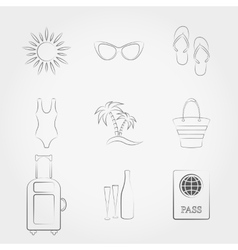 Summer travel and vacation icons set vector image vector image