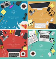 Top view desktop mock up set vector image vector image