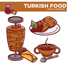 Turkish food cuisine dishes flat icons for vector