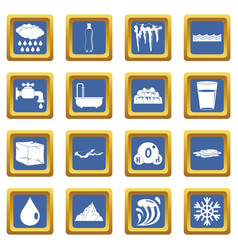 water icons set blue vector image