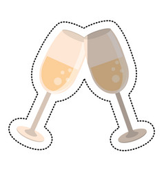 Wedding glass cups champagne vector