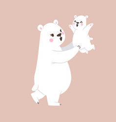 white polar bear mother and small baby bear vector image