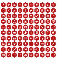 100 veterinary icons hexagon red vector
