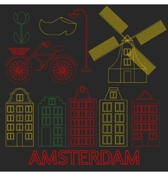 Amsterdam city flat line art travel landmark vector