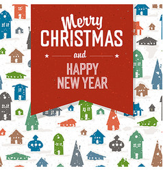Merry Christmas Greeting Postcard Xmas Village vector image