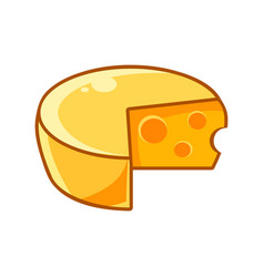 Swiss cheeze head with holes food item outlined vector