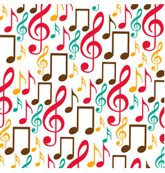 Colorful background with pattern of musical notes vector