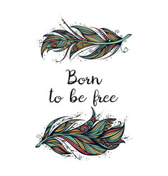 Born to be free feather vector