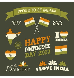 India independence day celebration icons set vector
