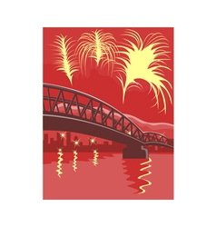 Bridge fireworks retro vector