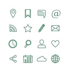 Contour social media icons set vector image