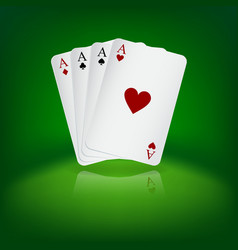 Four aces playing cards on green background vector image
